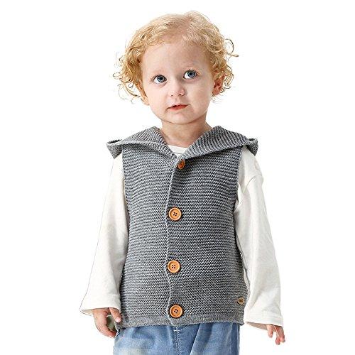 Lenfesh Baby Mädchen Jungen Gestrickt Hooded Weste Ärmellose Jacken Wintermantel Kleidung (12 Monate, Grau)