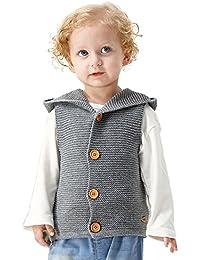 Lenfesh Baby Mädchen Jungen Gestrickt Hooded Weste Ärmellose Jacken Wintermantel Kleidung