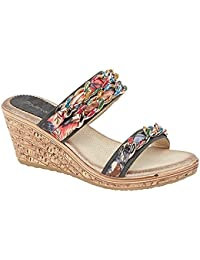 ac2bc7a80 Boulevard Womens Ladies Jewelled Fabric Twin Strap Wedge Mule Sandals