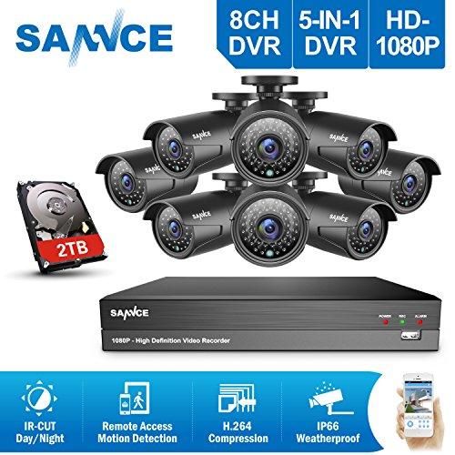 SANNCE Sistema de seguridad Kit de 8 CCTV Cámaras Metal de vigilancia (Onvif H.264 CCTV DVR P2P 8CH TVI 1080P 8 cámaras 1080P 2.0MP IP66 Impermeable 36 IR LED)-2TB disco duro de vigilancia