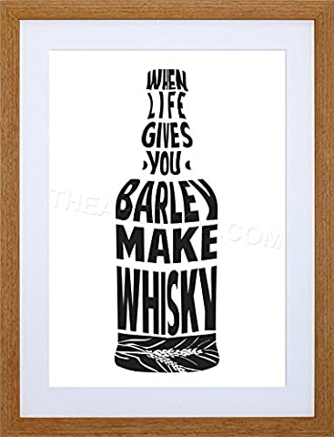 QUOTE TYPOGRAPH BARLEY WHISKY BOTTLE FRAMED PICTURE POSTER ART PRINT F97X10110