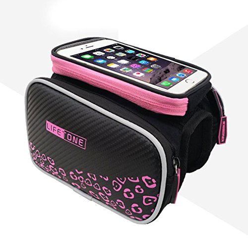 Bicycle Bag, ADiPROD Cycling Handlebar Bag Bike Pannier Frame Front Tube Cell Phone Bag Waterproof And Phone Pouch 5.5 Inch for iPhone Samsung HTC LG (Pink)