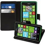 kwmobile Wallet Case Hülle für Nokia Lumia 625 - Cover Flip Tasche mit Kartenfach und Ständerfunktion in Schwarz