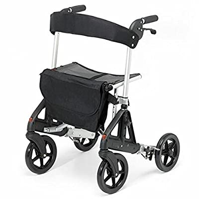 Days 09 155 8345 Fortis 4 Wheel Rollator with Adjustable Seat – Silver