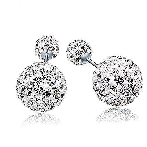 Demarkt Étincelant Bijoux Clou d'Oreille Double Boule de Cristal Faux