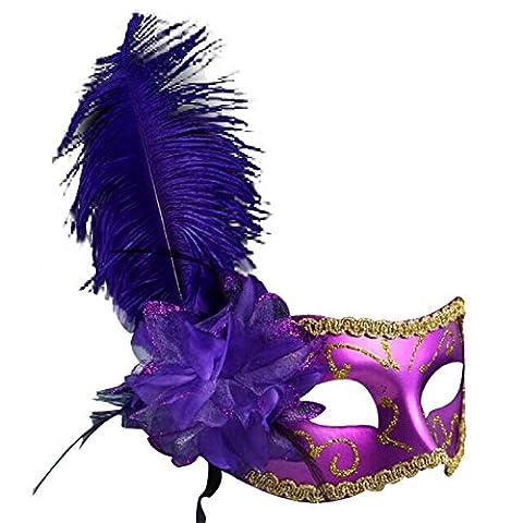 sarahbridal Damen Feder Venezianischen Masquerade Ball Masken Pailletten Party Ball Kostüm Eye Masken (Venedig Karneval Kostüme Uk)
