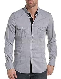 Sixth June - chemise homme tendance et fashion noire à fines rayures