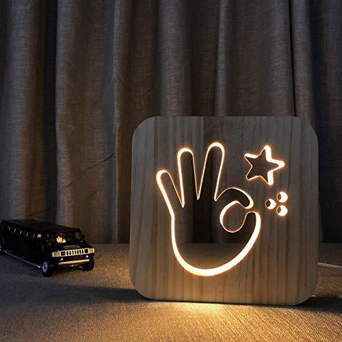 3D Usb Holz Nachtlicht Ok Geste Nachtlicht Holz Handwerk New Wood Carving Led Lights -