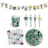 Easy Joy 69er Set Dschungel Party Partygeschirr Safari Tischdeko Pappbecher Pappteller Servietten Strohhalme für 12 Kinder