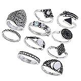 Fenical Ethnische Fingerringe Übertrieben Edelstein Kombination Ringe Anzug Schmuck für Frauen Mädchen Pack 10 stücke (Silber)