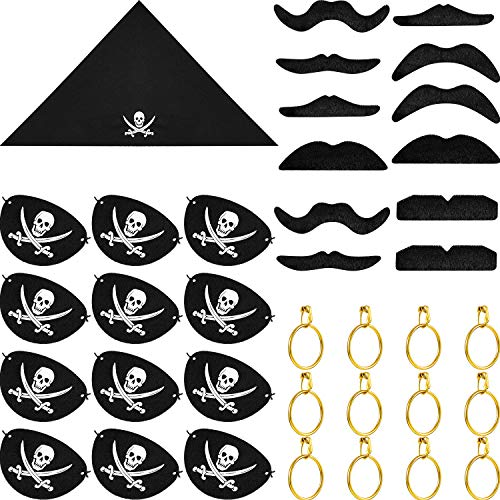 Set Piraten Kostüm - Blulu 48 Stück Piraten Kapitän Kostüm Sets, Piraten Kapitän Augenklappen, Pirat Bandana, Pirat Gold Ohrringe, Pirat Gefälschte Schnurrbart für Halloween und Piraten Party