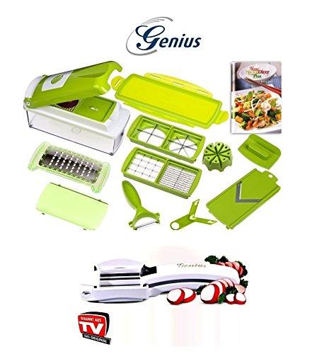 14-tlg. Genius Nicer Dicer plus Gemüseschneider Küchenhobel Kiwi-grün + C1 Allesschneider