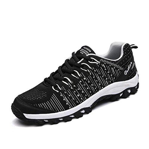 Scarpe da ginnastica da uomo con molla in mesh traspirante e assorbimento shock black and white