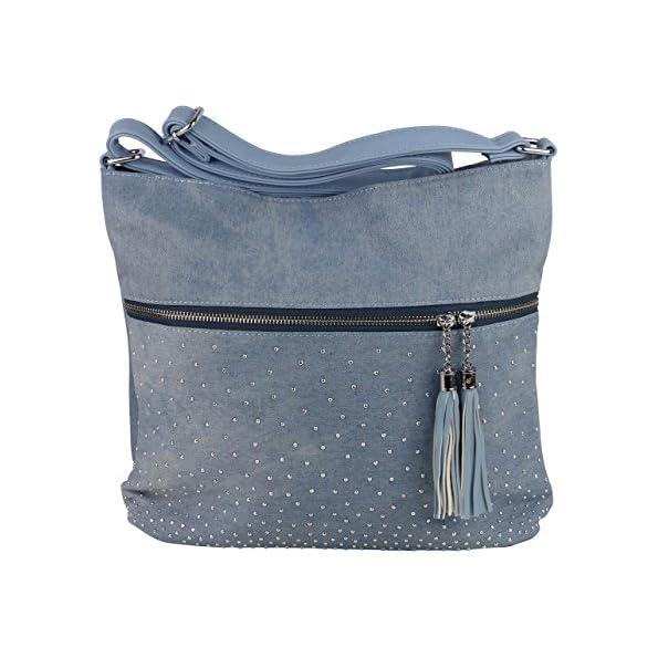 Schöne Jeans Umhängetasche mit 2 Troddeln und kleinen Steinchen/Nieten - Glitzereffekt - Damen Mädchen Teenager Tasche - Used Look Style - Maße ohne Henkel 34x29x11 cm