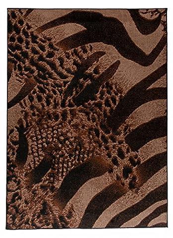 """Grande Tapis De Salon - Marron Beige - Parfait Pour La Chambre - Design Moderne - Motif Zébré & Panthère & Léopard - Plusieurs Coloris & Tailles """" IVY """" 140 x 200 cm"""