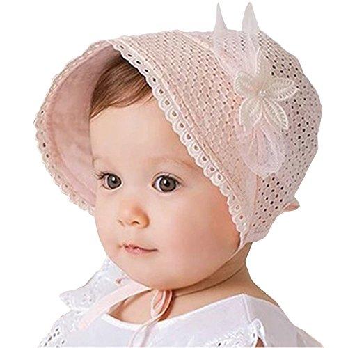 EROSPA® Süßes Baby Mützchen für Mädchen Spitze Häubchen Blume Spitze Sonne Prinzessin rosa (Baby-häubchen)