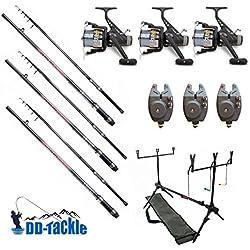 Lot de 3 cannes à pêche à la carpe - 3,60 m - 1,25 kg - 40 à 90 g - 3 moulinets - 3 détecteurs de touches électroniques Rod Pod