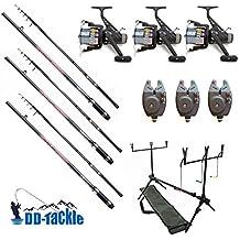 Kit 3cannes à carpe assemblées 3,60m / 1,3 kg 50–120g avec 3moulinets, 3détecteurs de touche électronique, rodpod, épuisette, crochets