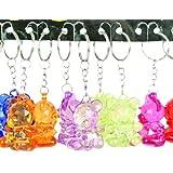 Anniversaire Kermesse - Pack de 12 Porte-Clés - Ourson en Crystal - 3 cm