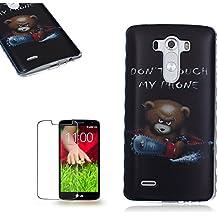 LG G3 Funda [Regalos gratis protector de pantalla],Funyye Gel de silicona suave ultra fina de TPU animal lindo de la historieta (Don't Touch My Phone:No toque mi teléfono) (Sierra eléctrica del oso) Diseño cubierta trasera del caso carcasa protector del patrón para LG G3
