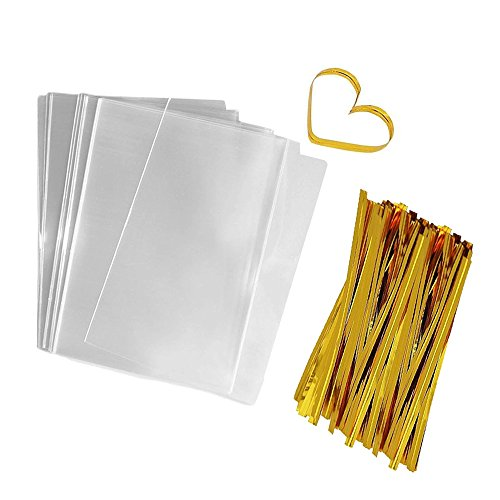 Flat Bags Clear Cellophane Bags 200 PCS Clear Cello Treat Bags Party Favor Bags for Gift Bakery Cookies Candies Dessert with 200 PCS Metallic Twist Ties (3 by 4 Inch)