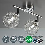 Làmpara de techo LED - LED Focos de techo - Làmpara de techo LED para salòn - barra de dos focos con LED G9 de 3,5 W de potencia y 320 lùmenes - en color cromado
