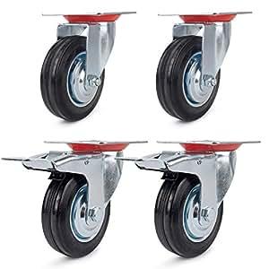 Roulettes 4 pièces 100mm (2 roulettes pivotantes 100mm + 2 roulettes pivotantes avec frein 100mm) roulettes de transport roulettes pour charges lourdes roulettes pour appareils roulettes acier galvanisé roulettes en caoutchouc noir 100mm capacité de charge 70KG / rouleau 210KG / jeu