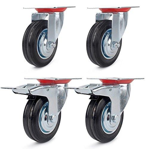 4pezzi ruote 75mm Set Bock ruote 75mm ruote con freno 75mm ruote Ruote Robuste ruote Apparat ruote in lamiera di acciaio zincato nero gomma rotella 75mm capacità di carico 50kg/150kg/set