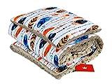 BABYLUX Babydecke Krabbeldecke MINKY Kuscheldecke Decke 75 x 100 cm mit KISSEN 30x35cm (6K. Beige + Feder)