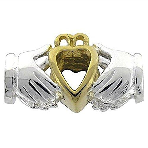 Charm-Anhänger, irisch-keltisches Claddagh-Symbol, aus Sterlingsilber, 9kt Gold-Charm, passend für europäische Charm-Armbänder
