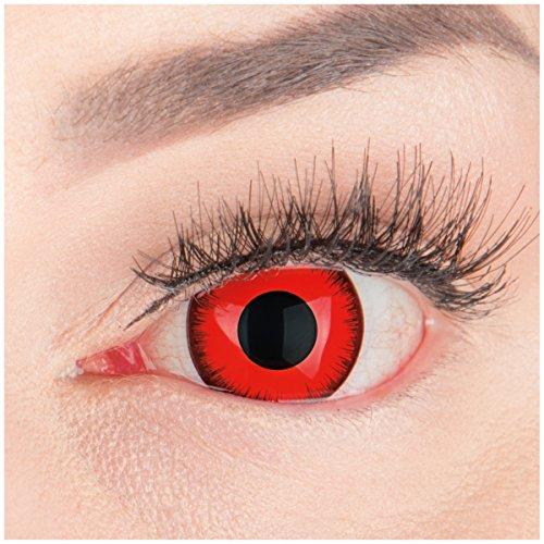 Farbige Mini Sclera Halloween Kontaktlinsen 'Red Lunatic' - 17mm MeralenS Horror Lenses inkl. Behälter - 1Paar (2 Stück)