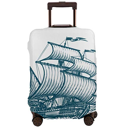 Travel Suitcase Protector,Vintage Sailing Ship Seafaring Sailer Concept Sketch Vector Illustration,Suitcase Cover Washable Luggage Cover L Black Skull Hard Case