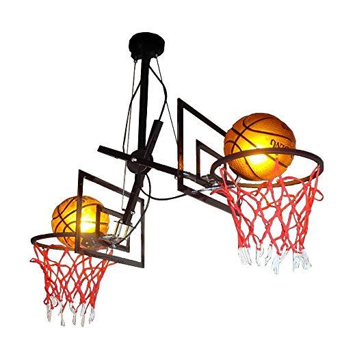 ● Creative Double-Headed Multi-Angle Multi-Direction Rocker Iron Kronleuchter Designer Basketball Einstellbare Deckenleuchte Themenraum Basketball Pendelleuchte mit Rückwand (Farbe: Schwarz) ● (Double Headed Nickel)