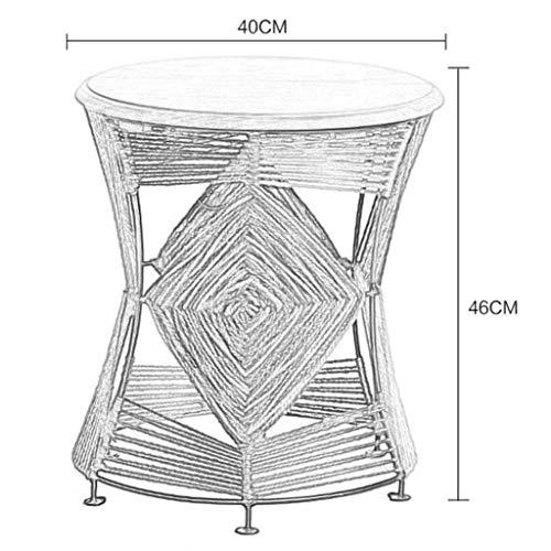 Afanyu Afanyu Shoe Bench Hocker Handgestrickter Sitzhocker Beistelltisch Flower Stand Holzbank Nachttisch, 40X40X46Cm,Orange - Bench Zubehör