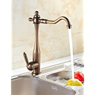 AI LI WEI Bathroom Furniture - Antique Inspired Kitchen Faucet (Antique Brass Finish)