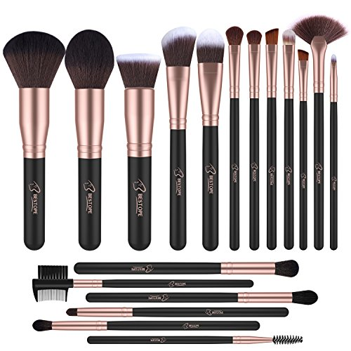 BESTOPE 18 Stück Make Up Pinsel Set Premium Kabuki Pinselset Synthetisches Haar Schminkpinsel Set...