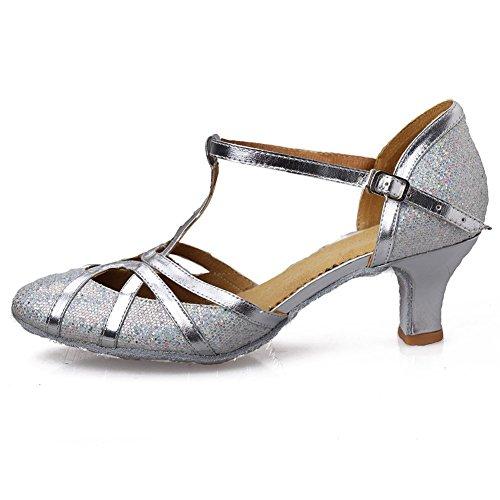 HROYL Damen Tanzschuhe/Latin Dance Schuhe Glattleder Ballsaal Modell-D5-511 Silber 40 EU