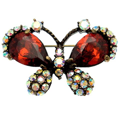 Acosta - Red CZ Crystal & Rainbow AB - Small Vintage Butterfly Brooch