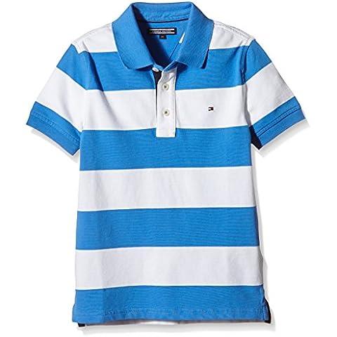 TOMMY HILFIGER KIDS Stretch Stripe Polo S/s, Camisa de Pijama para Niños