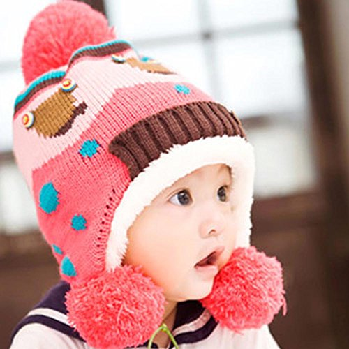 Huayang Niedliche Baby Mädchen Winter warme Ohrenschütze Flaumige Bälle Außen Ski Skateboard Mütze (pink)