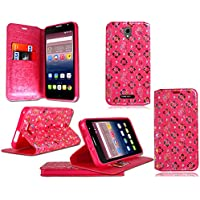 "Alcatel OneTouch Pop Star ot-5022nuevo teléfono móvil de piel tipo flip cover, piel sintética, New Pink Diamond Wallet, Alcatel One Touch Pop 4 Plus (5.5"")"