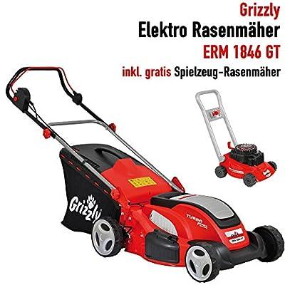 Grizzly Elektro Rasenmäher mit Stahlgehäuse - 1600 W /1800 W Turbo Power Motor, 41 cm - 46 cm Schnittbreite, 7-fach (30-75 mm) zentrale Höhenverstellung – Inkl. Kinderrasenmäher gratis!