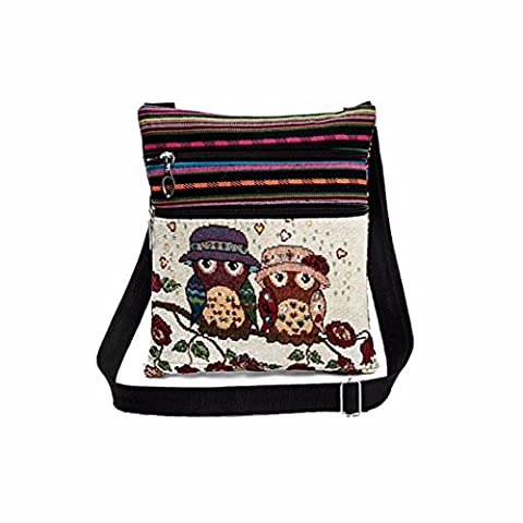 HLHN Women Cute Kids Embroidered Holder Bag Linen Owl Tote Postman Package Handbag (C)