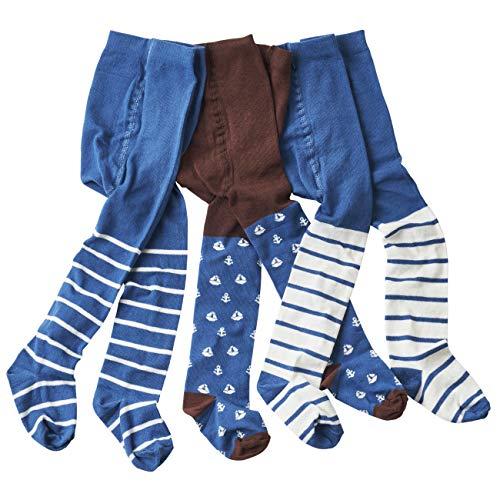 wellyou baby/kinder strumpfhosen für Jungen, babystrumpfhose/kinderstrumpfhose braun/blau Anker 3er set gr 74-80