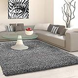 Hochflor Langflor Shaggy Teppich Uni Farbe Verschiedene Größen und Farben - Grau, 120x170 cm