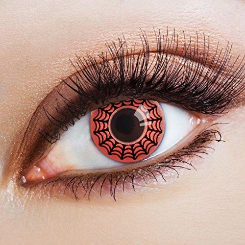 aricona Farblinsen Farbige Kontaktlinse The Amazing Spider   - Deckende Jahreslinsen für dunkle und helle Augenfarben ohne Stärke, Farblinsen für Karneval, Fasching, Motto-Partys und Halloween Kostüme (Halloween Spinnennetz Schminken)