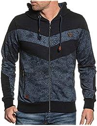 BLZ jeans - Sweat homme zippé à capuche navy chiné