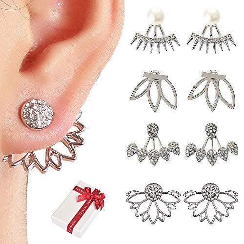 Lotusblume Ohrringe Zurück Manschetten Jacke Ohrringe Crystal Simple Chic Ohrstecker Set für Frauen Mädchen - Silber ()