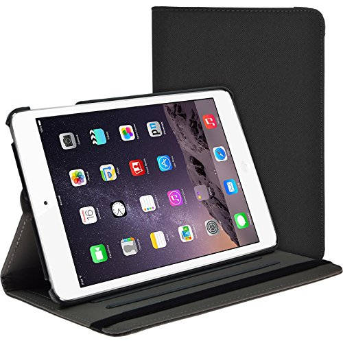 Preisvergleich Produktbild PhoneNatic Kunst-Lederhülle für Apple iPad Mini 3 2 1 360° Stoffoptik grau + 2 Schutzfolien
