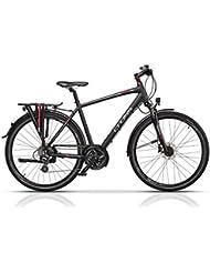 Trekking Bike Cross Travel de hombre, negro / rojo